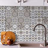 48 Sheets 6' x 6' Limestone Spanish Glossy 3D Peel and Stick Tile Stickers Kitchen Backsplash Stick on Subway Mosaics Tile Paint Water Heat Resistant Bathroom Kitchen Spring Easter Decoration