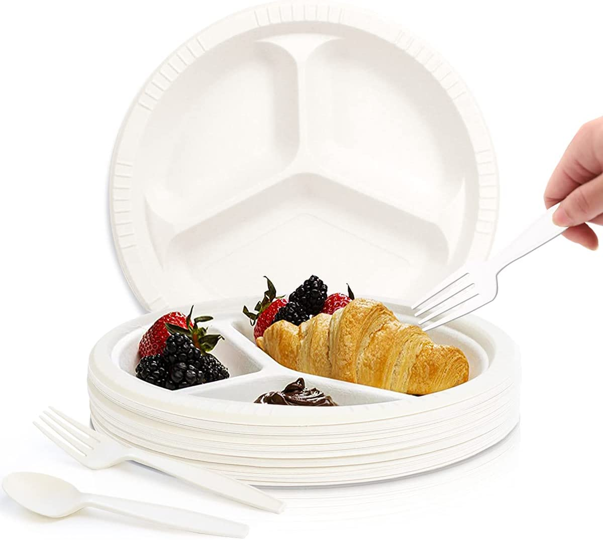 Disposable Three-part dinner plate set Super beauty product restock quality top! pcs 150 spoons for Fort Worth Mall plates