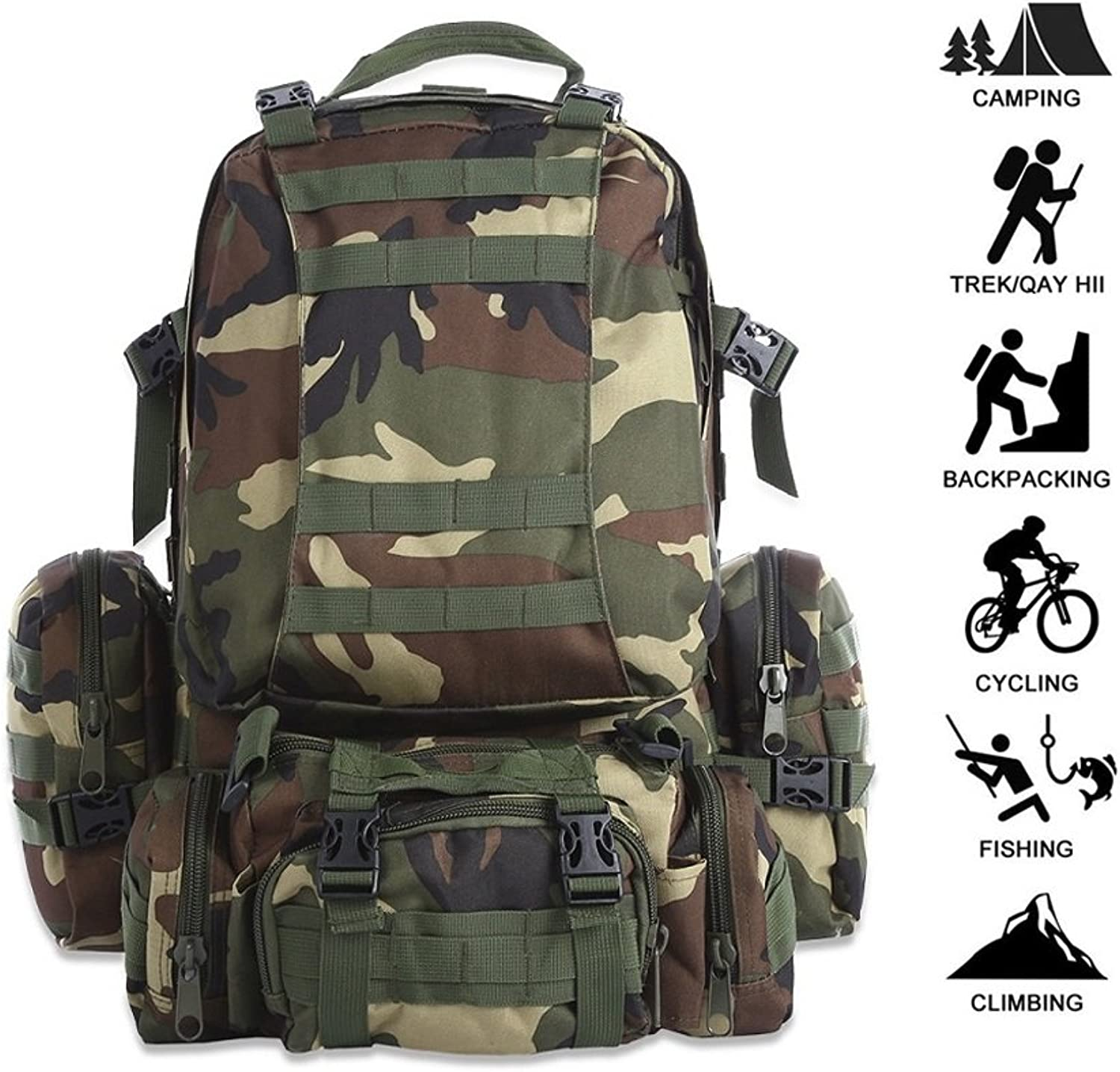 Outdoor Sports Backpack Large Capacity Camping Travel Bag, Oxford Cloth Waterproof Backpack Camouflage Travel Fishing Backpack Mountaineering Combination Backpack