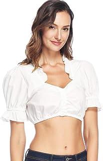 Lever Damen Dirndlbluse Spitze Dirndl Bluse Weiß Trachten Bluse