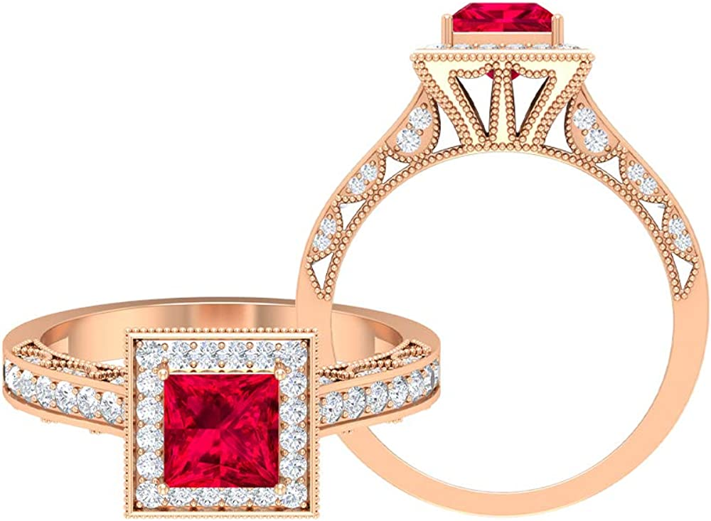 Vintage Engagement Rings 5.5 Finally resale start MM Cut Ruby D-VSSI Princess Max 40% OFF
