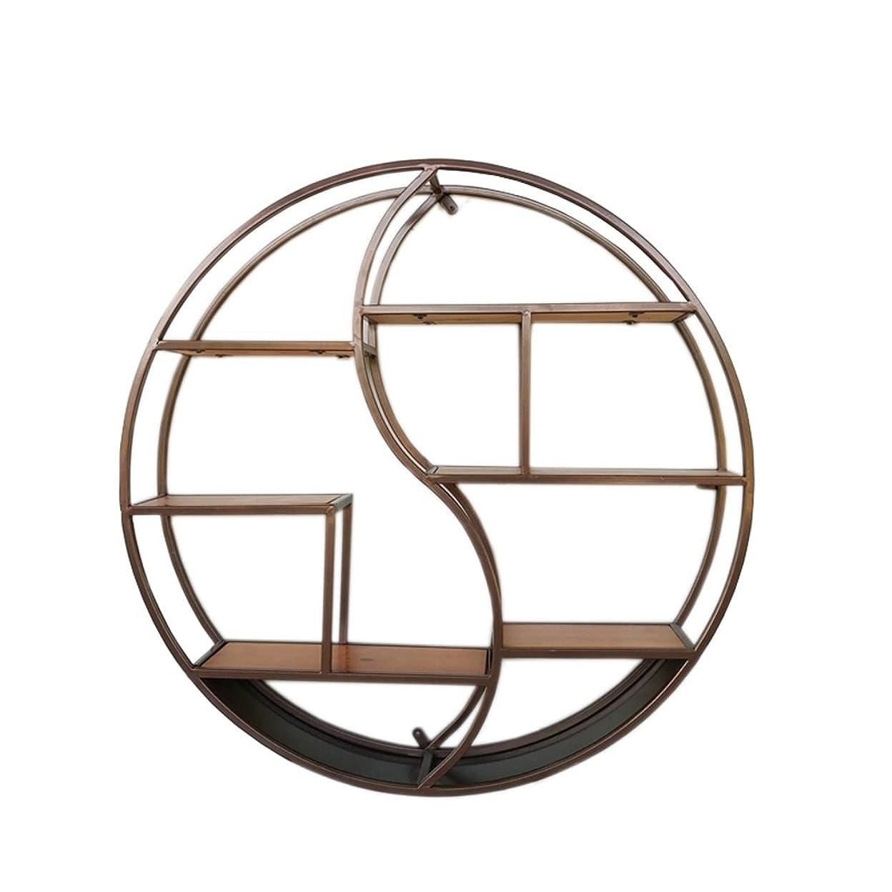 確かめる素人曖昧なウォールシェルフラック純木の本箱の仕切りの装飾の円形の陳列台 (Color : BLACK)