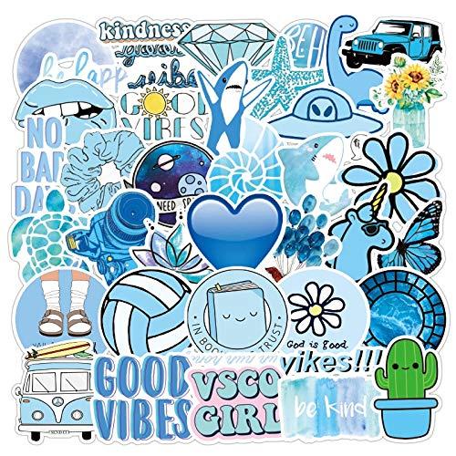 SUNYU 50PCS New Graffiti Sticker Blue Small Fresh Stickers Waterproof Suitcase Car Notebook Scooter Water Cup Stickers