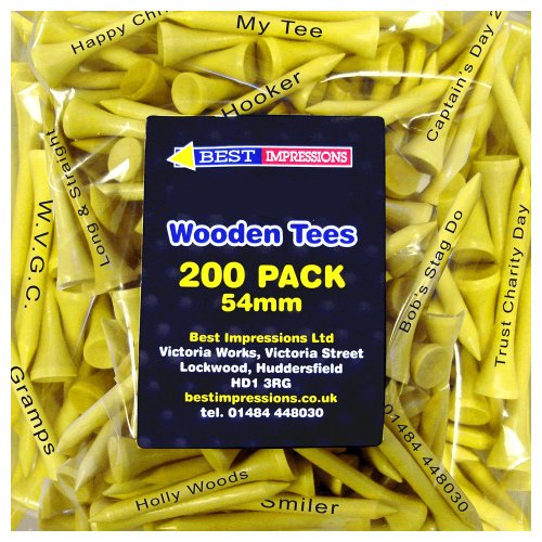 Personalizado 54mm tees de golf (200unidades), Printed Black on Yellow