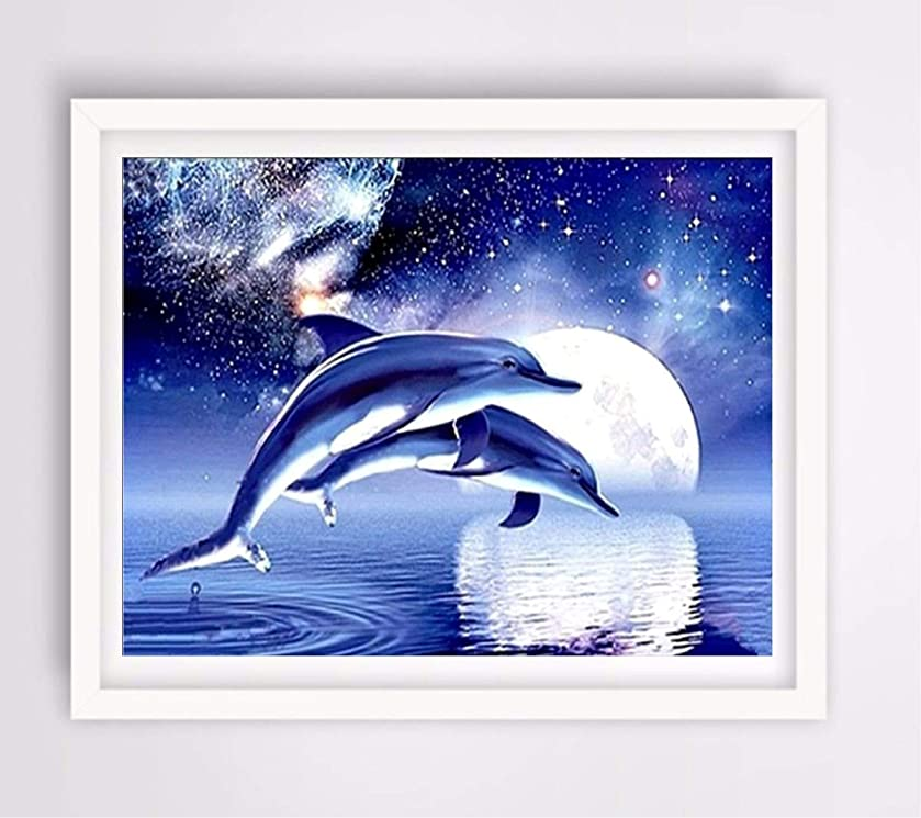 KOTWDQ 5d Diamond Painting Kits for Adults Kids Dolphin Full Drill Diamond dotz for Home Wall Decor 16x12inch(Canvas Size)