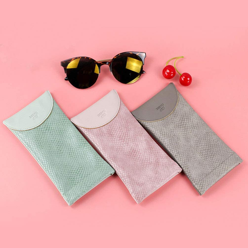 HEALLILY 2pcs Soft Shell Pouch Glasses Cases Pu Leather Sunglasses Cell Phone Pouch Portable Leather Glasses Case Eyeglasses Organizer