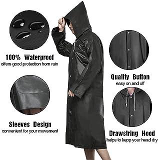 Rain Ponchos Reusable waterproof Waterproof Portable Raincoat EVA Material,Abide Poncho with Hood for, Festivals & Outdoors Biking,Camping,Riding,Water Rides - Men & Women 100% Waterproof -Black