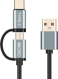 2in1 USB Type C ケーブル microusb/タイプC 充電ケーブル QuickCharge3.0対応 typecスマホ 3A 急速充電 1m マイクロusb タイプC ケーブル Galaxy S9/S8/S8+、MacBook、Xperia XZ その他Android各種、USB-C機器対応