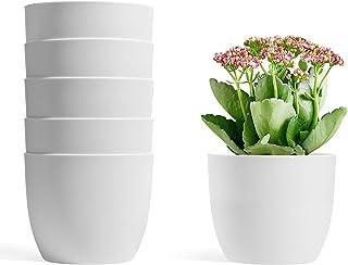 T4U 12CM 植木鉢 プランター 給水鉢 プラスチック製 6個入り 観葉植物 花 ハーブ栽培 庭 ベランダ インテイア適用 白