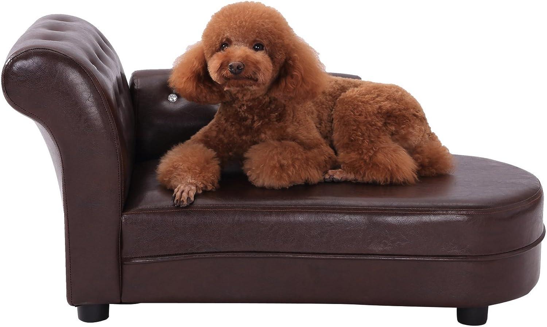 PawHut Dog Bed Pets Sofa Luxury Pets Couch Wooden Sponge PVC (Brown)