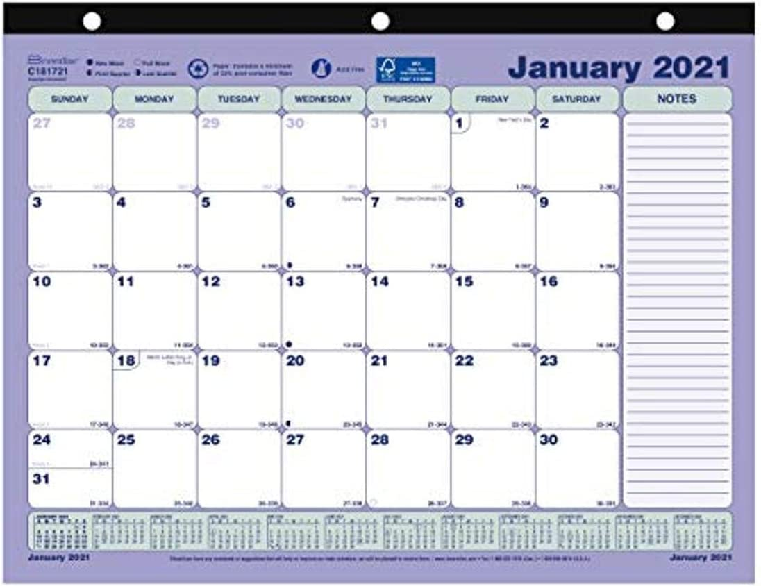 22 x 17 Brownline Monthly Desk Pad Calendar 2021 C1731V White//Maroon