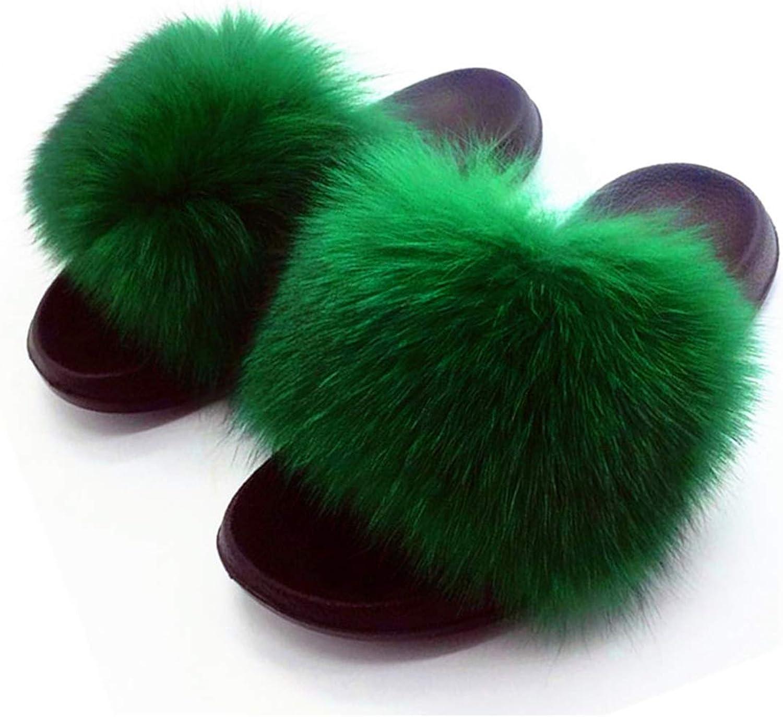 NOMIMAS Ladies Cute Plush Fox Hair Fluffy Slippers Women Furry Slippers Women Fur Slippers Winter Warm Slippers