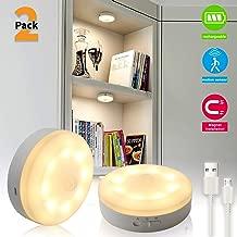 Bason Puck Lights, Motion Sensor Closet Light, USB Rechargeable Cabinet Lights,LED Wireless Lighting for Kitchen, Wardrobe,Hallway,Warm White 3000K,2-Pack