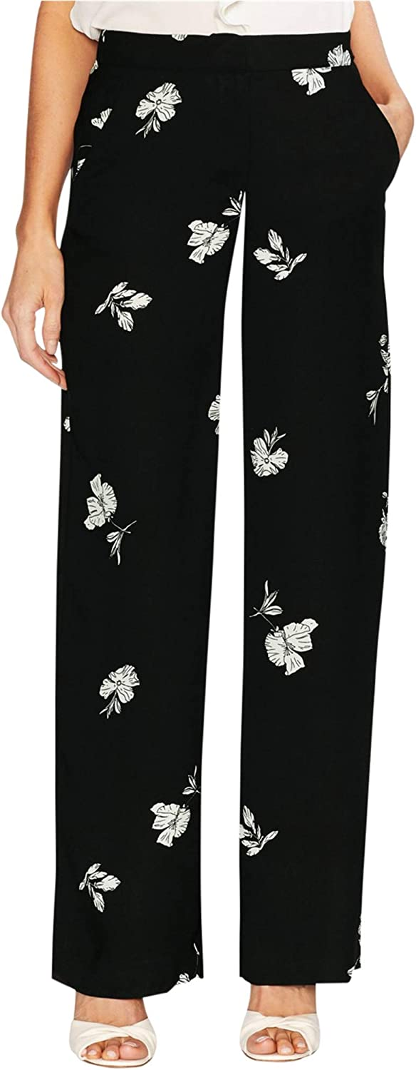 Vince Camuto Womens Tossed Flowers Casual Wide Leg Pants, Black, 14