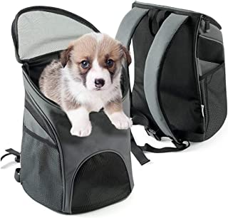 Traveler Pet Backpack Comfort Portable Carriers Hold Cats and Dogs, Go for Walk, Hiking and Cycling, Gray