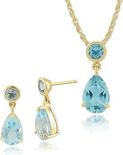 Gemondo 9ct Oro Amarillo 3.24CT Topacio Azul Dos Pendientes Piedra y 45cm Collar Set