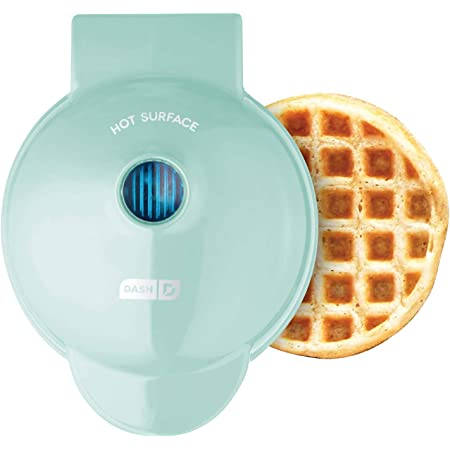 Dash DMW001AQ Mini Maker for Individual Waffles, Hash Browns, Keto Chaffles with Easy to Clean, Non-Stick Surfaces, 4 Inch, Aqua