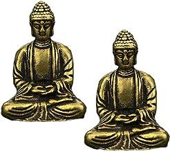 Prettyia 2X Sakyamuni Buddha Statues Meditation Sitting Pose Antique Brass Style