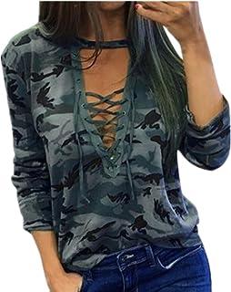 479289c94 Tefamore Blusa Mujer Camisa de Manga Larga Slim Casual Camuflaje Imprimir  Tops Moda