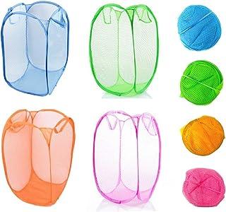 4 Pack Large Foldable Portable Pop Up Basket Mesh Hamper Washing Dirty Clothes Bag Storage Bin for Bedroom, Kids Room, and...