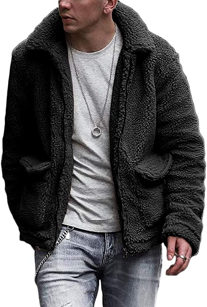Gafeng Mens Sherpa Jacket Fuzzy Fleece Winter Casual Fluffy Lapel Collar Zip up Outwear Cardigan Coat