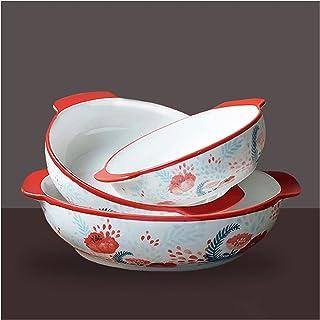 Baking Dish Round Bakeware Set, 3-Piece Ceramic Baking Dish, Casserole Dish Set with Handle, Lasagna Pans for Cooking, Cak...