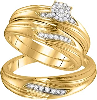 Mia Diamonds 10k Yellow Gold Diamond His & Hers Matching Trio Wedding Engagement Bridal Ring Set (.20cttw) (I2-I3)- Available Sizes From - 5 to 11