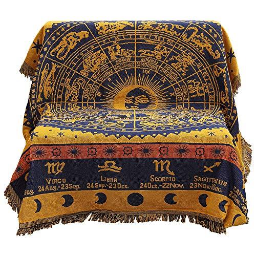 Manta para sillón de algodón tejido de 50x 70 pulg., con borlas decorativas.