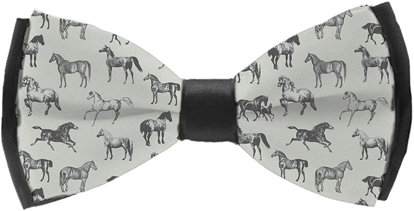 Men's Pre Tied Bow Ties for Wedding Party Adjustable Bowties(Wild Horse Pattern)