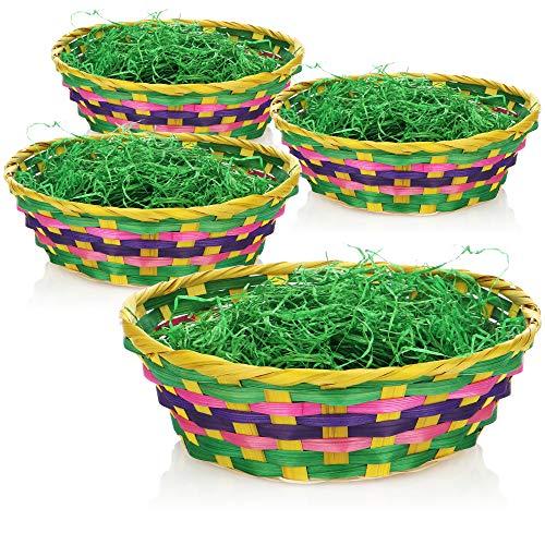 com-four® 4X Canasta de Pascua con césped Decorativo - Coloridas cestas de Pascua Hechas de bambú con Pasto Verde - Canasta de Rafia con Pasto de Pascua (04 Piezas - Canasta de bambú + Hierba)