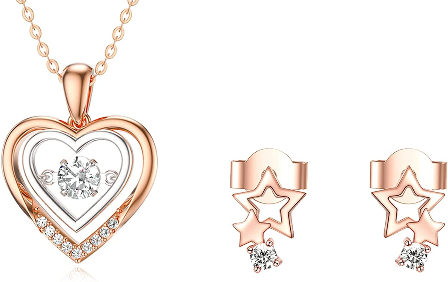 14k Rose Gold Dancing Heart Necklace and 18k Rose Gold Star Stud Earrings, Love Jewelry Set for Women