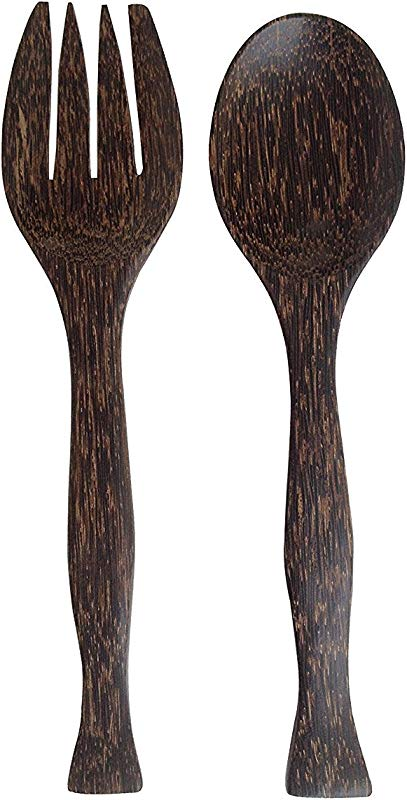 Wood For D Cor Wooden Fork And Spoon Toddy Balm Salad Tool Set Big Natural Back Color Set Of A Spoon And A Fork L11 2 X W1 5 X H 0 6 Inches