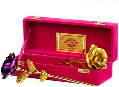 MSA Jewels Artificial Flower Golden Rose in Velvet Box(30 x 8 x 10 cms,Purple & Gold,Gift Pack of 2)