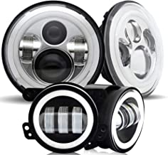 DOT Approved 7inch Round chrome Projector Angel Eye LED headlights With DRL Amber Turn Singal Hi/Lo Beam + 4