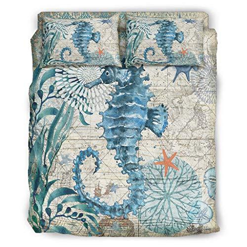 Juego de colcha de edredón de caballo de mar con fundas de edredón y fundas de almohada, color negro, 228 x 264 cm