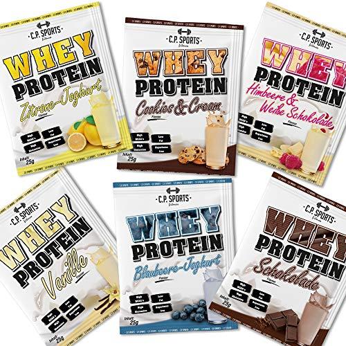 Whey Protein - 500g Beutel C.P. Sports, Eiweißpulver 19 Geschmacksrichtungen Protein (Testpaket - 6 Sorten a 25g)