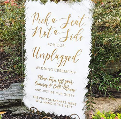 234Tiffany Unplugged Ceremony Sign Acrylic Sign Unplugged Wedding Back Printed Acrylic Sign Brushed Acrylic Wedding Ceremony Sign