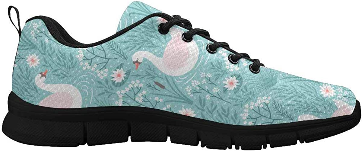 INTERESTPRINT Swan and Floral Pattern Women's Athletic Walking Running Sneakers Comfortable Lightweight Shoes