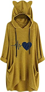 ❤Kauneus❤ Long Sleeve Cat Ear Hoodie Oversize Baggy T Shirt Casual Loose Party Print Short Midi Dresses with Pockets