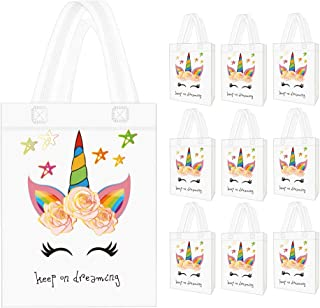 Seakcoik 10 Pack Party Favor Gift Bags with Dreamlike Design - Reusable Gift Tote Bags, Goodie Gift Toy Treat bags for Kids Themed Birthday Party, Baby Shower