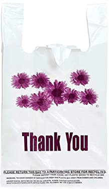 Purple Flower Thank You Plastic t-Shirt Bags - 300 pcs/roll
