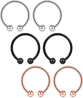 "Ruifan 316L Surgical Steel Non-Piercing Fake Faux Clip On Septum Nose Hoop Ring Body Jewelry Piercing Unisex 20 Gauge 5/16""(8mm) 2-6PCS"