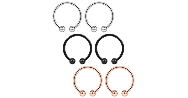 Ruifan 316L Surgical Steel Non-Piercing Fake Faux Clip On Septum Nose Hoop Ring Body Jewelry Piercing Unisex 20 Gauge 5//16 2-6PCS BJ00243 8mm