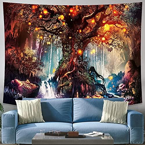 MIKUAJ Tapiz Tapiz con Estampado de árboles de los Deseos para Colgar en la Pared, Alfombra Decorativa psicodélica, sábana de Cama, sofá Hippie Bohemio para decoración del hogar