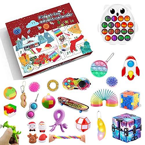 Qsurluck 2021 Christmas Countdown Adventskalender Figetsss Spielzeug-Sets,Fidget Spielzeug Set,für Zuhause, Schule, Büro, Party, Eltern-Kind-Spiel (Pack B)