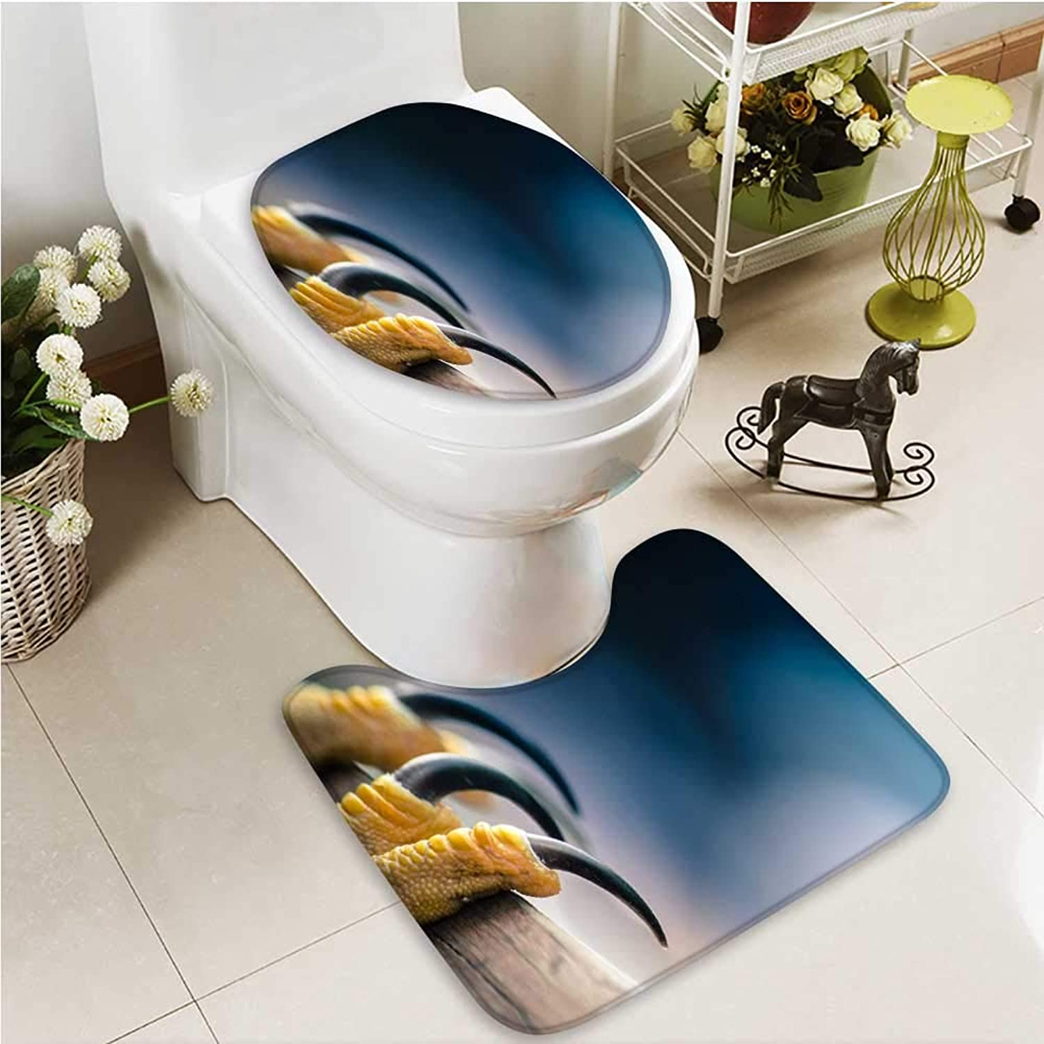 Printsonne Cushion Non-Slip Toilet Mat Sharp Talons Soft Non-Slip Water