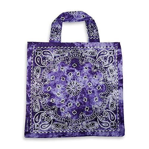 Women's Bandana 100% Cotton Tie Dye Paisley Print Shoulder Tote Ecco Bag (purple)