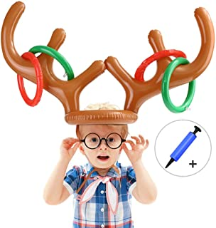 Chinateraca Inflatable Antlers Ring Toss Game Reindeer Antler Hat Party Game Set Headband Christmas Games For
