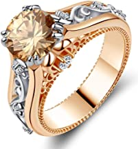 AJZYX Two Tone Rings Round Cubic Zirconia CZ Ring Wedding Bands Silver Rose Gold Plated Size 6-9