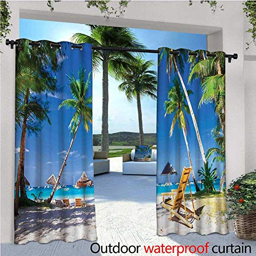 cobeDecor Seaside Patio Curtains Sun Bed Under Palm Trees Tropical Oceanside in Boracay Island Image Print Outdoor Curtain for Patio,Outdoor Patio Curtains W120 x L96 Green Blue and White